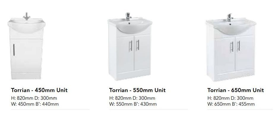 WHITE GLOSS VANITY UNITS, BATHROOM FURNITURE, STRABANE WHOLESALE LTD, STRABANE 02871382374