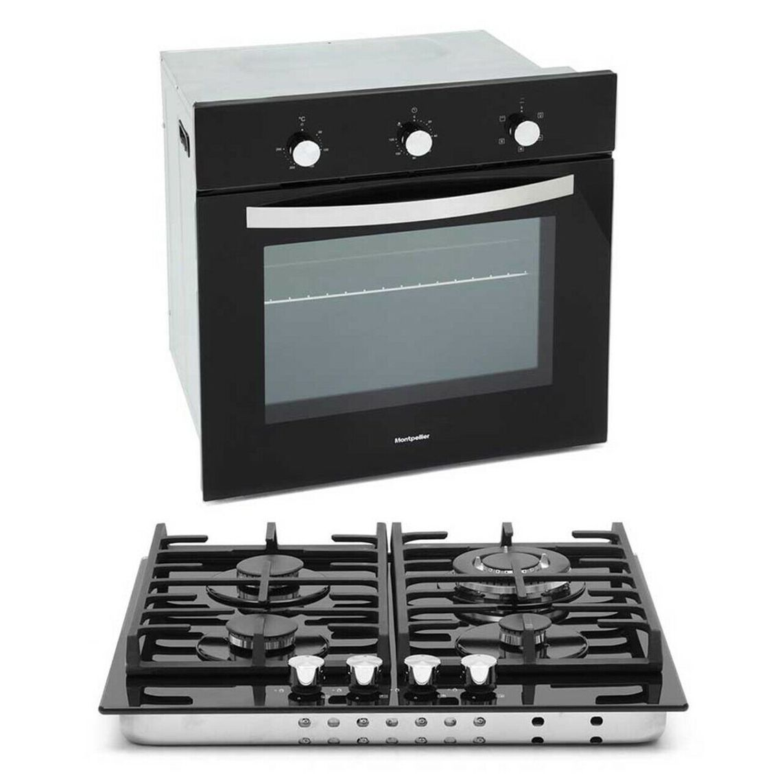 MONTPELLIER SFGP12 Built-In Single Electric Oven & Gas Hob Pack Black, STRABANE WHOLESALE LTD, Strabane, Co. Tyrone. 02871382374