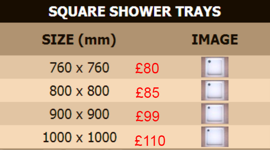Slimline Shower Trays, Strabane Wholesale Ltd, Strabane, Co. Tyrone