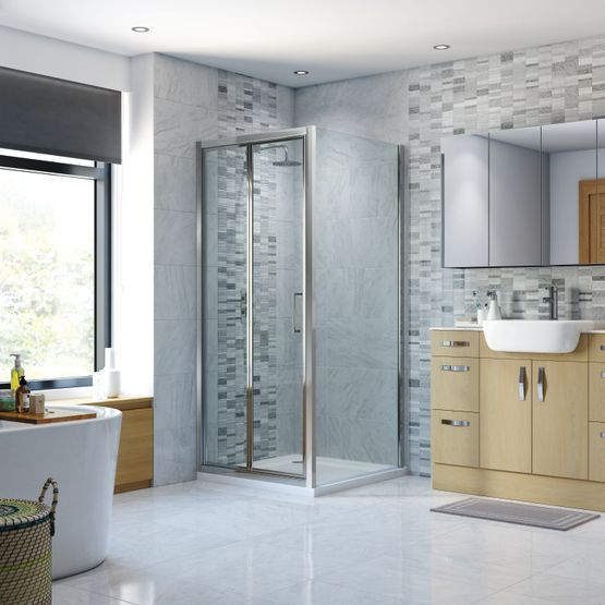 Bifold Shower Doors, Shower Enclosures, Strabane Wholesale Ltd, Strabane, Co. Tyrone